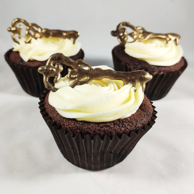 Gluten free cupcakes topped with a chocolate key